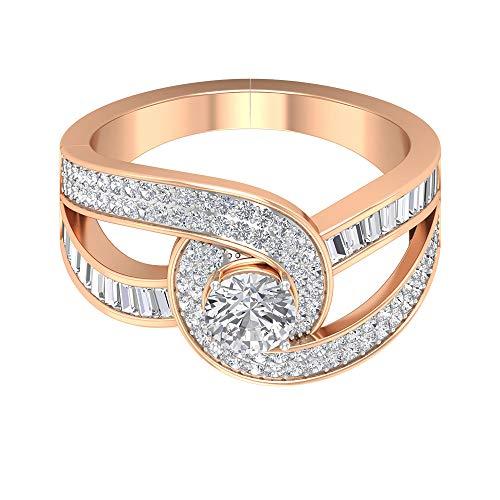 Rosec Jewels 10 quilates oro rosa round-brilliant-shape baguette-shape H-I Diamond
