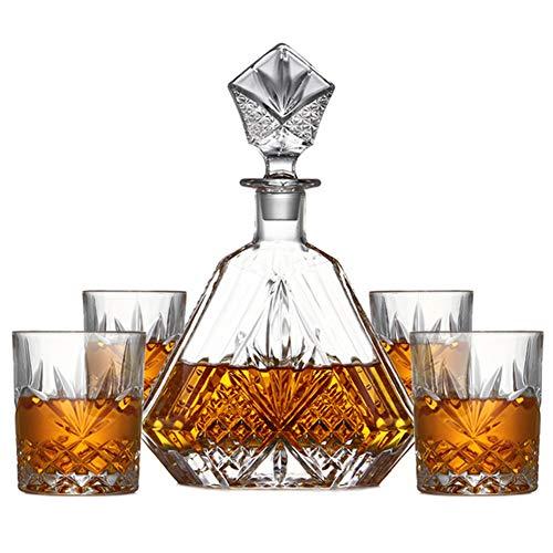Karaffen, 5 Stuks/Set Crafted Glass Decanter Whiskey Glazen Set Met Sierlijke Stop En 4 Exquisite Cocktailglazen Cup Voor Bar Partij Van Het Huis