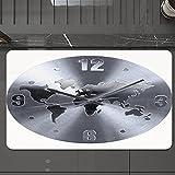 Alfombrilla de Baño Antideslizantes de 50X80 cm,Decoración del reloj, un patrón de reloj pla, Tapete para el Piso Lavable a Máquina con Microfibras Suaves Absorbentes de Agua para Bañera, Ducha y Baño