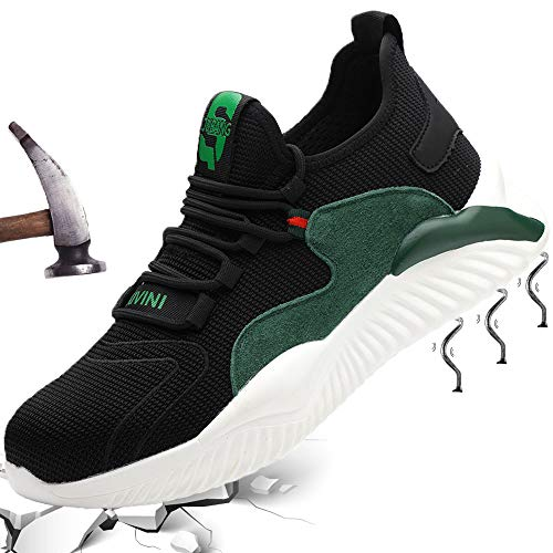 S3 Sicherheitsschuhe Stahlkappe Schutzschuhe Herren Arbeitsschuhe Männer Safety Shoes Unisex Leicht Sportlich Schuhe Outdoor Sneaker Atmungsaktiv Stylisch Grün 41