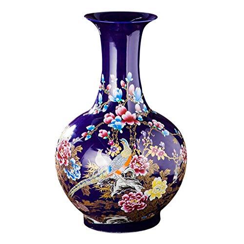 WJMLS Antike chinesische Keramikvase Gemalte Pfingstrosenblumen und -vögel, Klassische dekorative Hauptvase