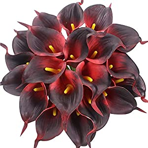 Veryhome 20pcs Lifelike Artificial Calla Lily Flowers for DIY Bridal Wedding Bouquet Centerpieces Home Decor (Brick red)