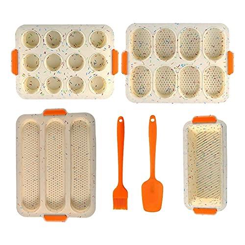 RWEAONT Silikon-Backformen-Set von 6, 3 Brote Laib-Form + Toast-Laib-Pfanne + 8 Tasse Muffin-Formen + 12 Tasse Baguette-Pfanne mit Schaufelbürste (Color : Colorful)