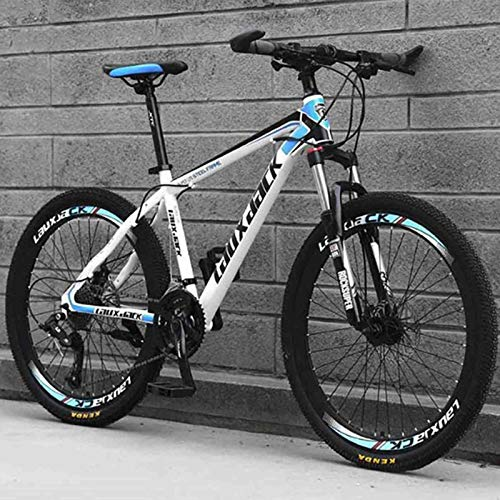 YUEBM Mountain Bike Outdoor Sports, Exercise Fitness, Cycling Sports Mountain Bikes Suitable for Men and Women Cycling Enthusiasts (White-Blue)