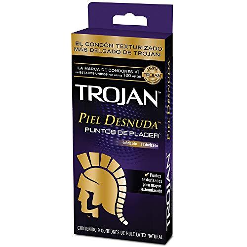 Trojan Condón Piel Desnuda Puntos de Placer Texturizado, 9 Piezas