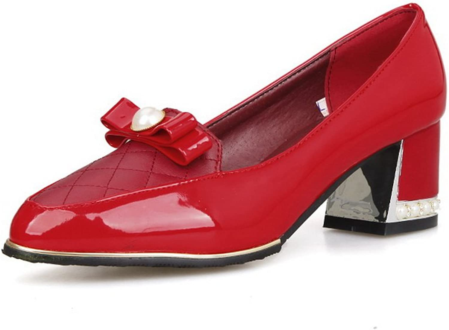 1TO9 Girls Pull-On Spun gold Bowknot Pointed-Toe Red Patent Leather Pumps-shoes - 5.5 B(M) US