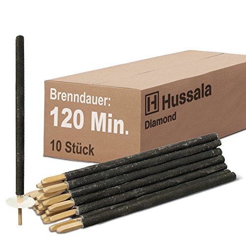 Hussala Diamond Wachsfackeln Brennzeit 120 min [10 Stück]