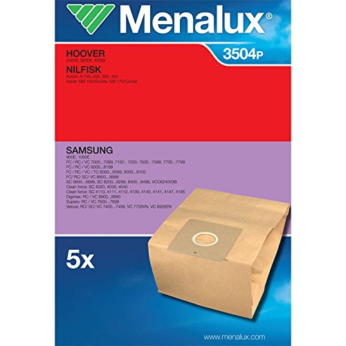 Menalux 900166423 3504P Sacco in Carta per Hoover 2000X-300X-4000X-Lg V2710De, Samsung 900E-1000E-Cleanforce-Digimax -Imetec 8283 Ecoallergy