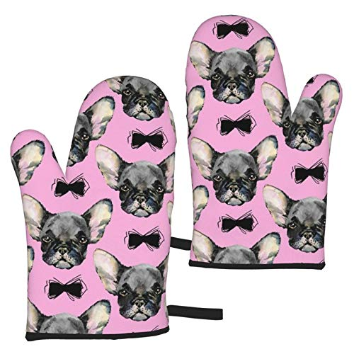 French Bulldog Dog Cute Oven Mitts Heat Resistant Glove for Cooking Baking Grilling BBQ Microwave ,1 Pair Cartoon Printing
