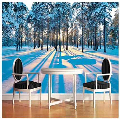 3D Mural papier behang fotobehang wand decoratie sneeuw landschap bos zonsopgang muurschildering 200 x 140 cm.