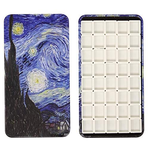 Honbay Watercolor Tins Palette Paint Case with 40pcs Plastic Half Pans (Starry Night)