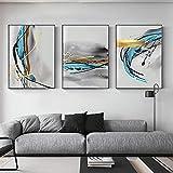 Carteles Impresión de arte de pared abstracto Pintura de lienzo azul nórdico Imágenes de salpicaduras de color escandinavo para la decoración del hogar de la sala de estar (50X70cm) 3 piezas Sin marco