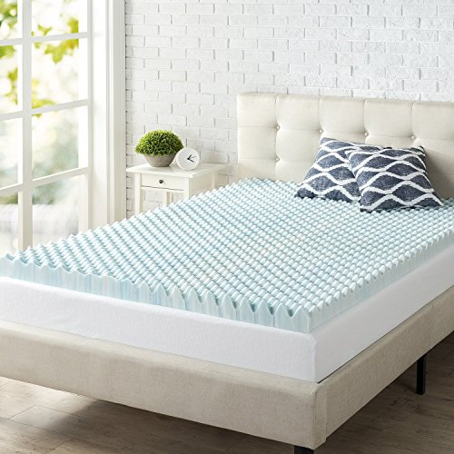 Zinus 3 Inch Swirl Gel Memory Foam Convoluted Mattress Topper / Cooling, Airflow Design / CertiPUR-US Certified, Queen