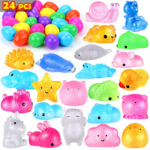 UFUNGA 24 Pcs Easter Eggs Filled with Squishies Toys- Prefilled Glitter Mini Soft Animals Squishy Stress Relief Toys for Basket Filler Classroom Prize Supplies (236in)