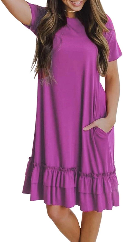 Saodimallsu Womens Ruffles Short Sleeve ALine Loose Dresses Casual Tunic TShirt Dress with Pocket