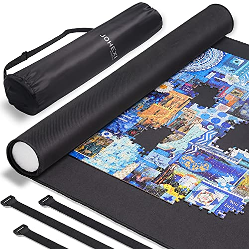 """JOHEXI Jigsaw Puzzle Caddy Portable Puzzle Roll Up Mat - Store and Transport to 1500 Pieces 46"""" x 26"""" - Foam Roller and Dual Material Mat"""