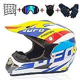 LONGXI Motocross Casco, Guantes Adulto ATV Casco Protector Dot Certificado de Descenso Llena de la Bici Casco de la Cara Gafas de máscara de Red de Bolsillo (5 Sistemas),14,S