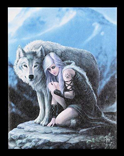 Figuren-Shop.de Kleine Leinwand - Protector by Anne Stokes - Wolf Fantasy Bild