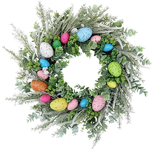 Verliked Flower Garland Reliable Durable Multifunctional Easter Eggs Wreath for Parties -Green