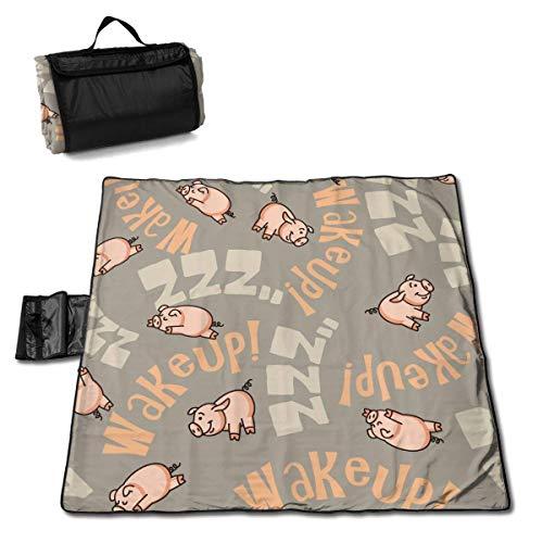 N/A Große wasserdichte Picknickdecke für den Außenbereich, witziges Schweinchen, Sandfeste Strandmatte für Camping, Wandern, Gras, Reisen