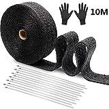 Cinta Anticalorica Escape Aislante 10 m, cinturón de tela de fibra de vidrio negro ignífugo antiescarcha para preservación del calor, con 12 bridas + guantes de acero inoxidable