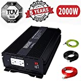2000W Power Inverter for Car 12V DC to 110V AC Converter with 6.2A Dual USB Ports TUV Approved 4000 Watts peak featuring