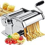 Fabricante de pasta, máquina de fabricante de fideos de rodillo de pasta con 9 configuraciones de grosor ajustable Instrucciones de manivela cortadora para espaguetis, fettuccini, lasaña o masa de mas