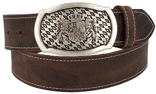 Trachtenkönig Trachtengürtel Original Unisex Bayern Wappen 100% Echtleder Handmade in Germany Kürzbar Braun (105, Schließe: Altsilber, Leder: Dunkelbraun (Vollrindleder))
