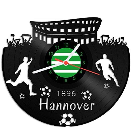 GRAVURZEILE Schallplattenuhr Hannover - 100% Vereinsliebe - Upcycling Design Wanduhr aus Vinyl Made in Germany