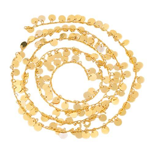Almencla Cadena de Collar de Cadena de Monedas para Hombres y Mujeres, Collar de Enlace de Cable Chapado en Oro de latón, fabricación de Joyas DIY y