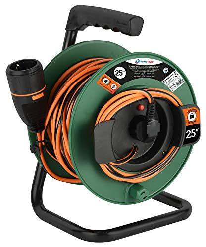 Electraline 49237 Cable Alargador con Enrollacables para Jardín 25M 3G1 con Toma de Corriente Electralock Equipado con un Mecanismo de Bloqueo Que Evita la Desconexión Accidental del Enchufe,