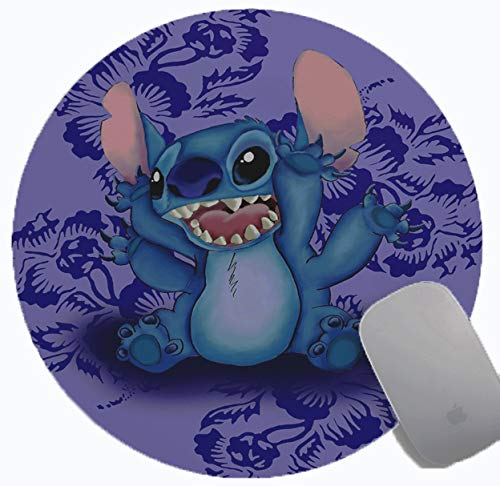 Stitch Gaming Mouse Pad , Anime Mousemat Non Slip Rubber Mouse Pads Office Round Mouse Mat