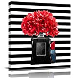 Red Flowers in a Black Marble Bottle and Lipstick next to It Black and White Stripes Wall Art Canvas Print Ready to Hang 12x12 Inch Canvas Wall Art Stretched and Framed for Nursery Decor Poster