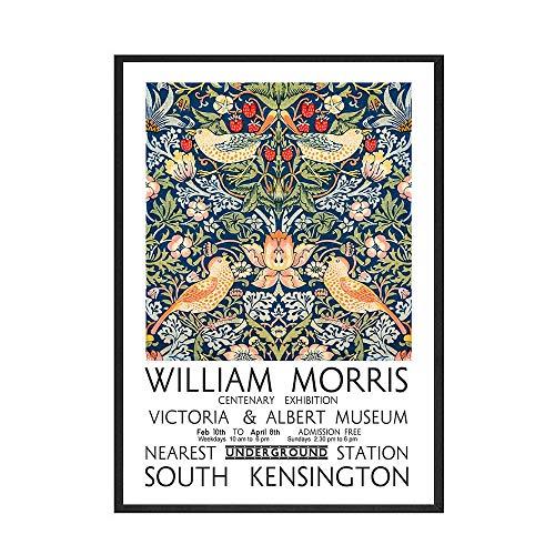 Póster e impresión de William Morris, cuadro artístico de flores y pájaros, pintura al óleo, habitación, lienzo decorativo sin marco, pintura A 40x60cm