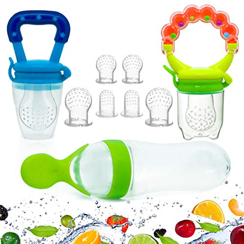Gedebey Baby Food Feeder, Pacifier Fruit- Fresh Silicone Bottle Squeeze Spoon Frozen Fruit Pacifiers Nibbler Hygienic Cover Newborn with Meshes Sizes for Baby Food Spoon
