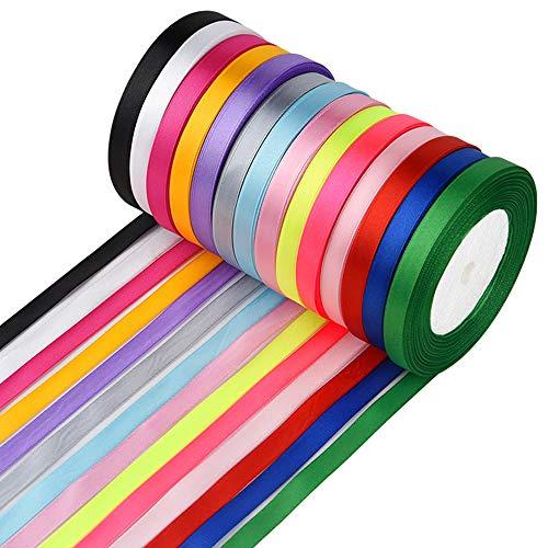FEPITO 10 mm cinta de raso 350 yardas tela cinta satinado rollo 14 colores