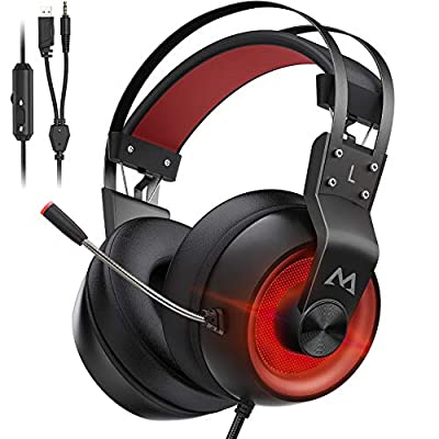 Mpow Xbox One Headset PS4 - EG3 Pro Gaming Headset Stereo Surround Sound with Noise Cancellation Mic & In-Line Control, Over-Ear Gaming Headphones with LED Light, Compatible with PC/Xbox/PS4 by Mpow