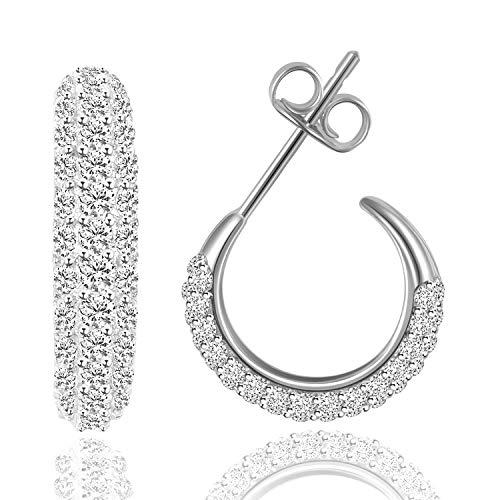 KINIVA Ohrringe Silber 925 Creolen Damen Funkelnde Zirkonia Klein Edelsteine Echte Silber Kreolen Schmuck Valentinstag Geschenk für Sie