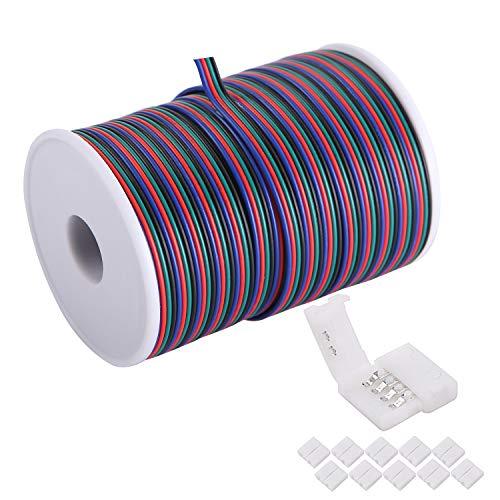 C-able Cable de extensión de cable RGB de 4 pines de 30,5 m, 22 AWG, 4 pines con carrete, luces LED, tira de cables de extensión para 5050 3528, con 8 conectores de tira LED RGB