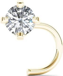 JewelMore 1.5mm 0.015 克拉总重钻石 14K 白金鼻环扭珠 20G