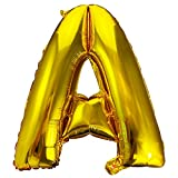LASE C9, Globos de Cumpleaños con Letras, Metalizados y de Colores. Incluye Inflador y pegatinas adhesivas. Decoración para Fiestas de Niños y Adultos. Happy Birthday Decoración. 80cm. (A, Dorado)