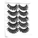 Ruairie False Eyelashes Natural Wispy Lashes Pack 3D Fake Eye Lashes Fluffy Volume Faux Mink Lashes Bulk 5 Pairs