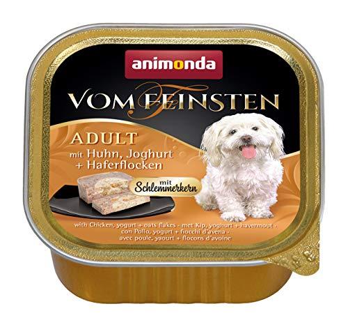 animonda Vom Feinsten Adult Hundefutter, Nassfutter für ausgewachsene Hunde, Schlemmerkern mit Huhn, Joghurt + Haferflocken, 22 x 150 g