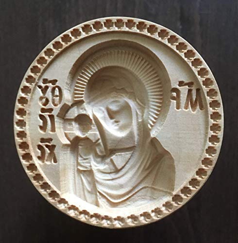 Stamp For The Holy Bread Orthodox Liturgy/Wooden Hand Carved Traditional Prosphora *The Kazan Mother of God* (Diameter: 1.57-7.09 inches / 40-180 mm) #43