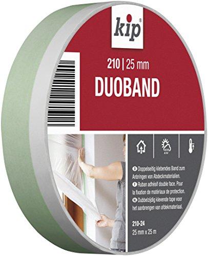Kip Duoband 210 – dubbelzijdig plakband voor snelle bevestiging van afdekfolie en maskers, 25mm x 25m, wit/groen, 12