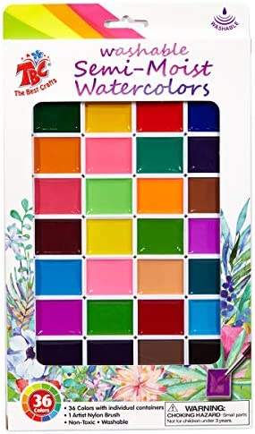 TBC The Best Crafts 36 Assorted Colors Washable Semi Moist Watercolors Pan Set Non-Toxic Water color Paint Set for Kid Students Paint Brush Included Great Classpack Classroom Art Supplies