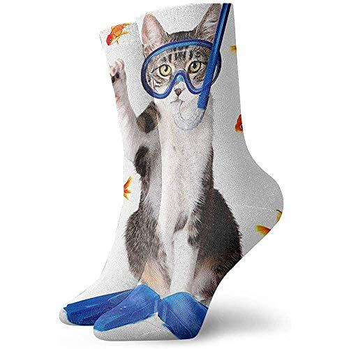 Gre Rry Cat Fishing Curiosity Goldfish Hunting Funny Novelty Crew Socks Chaussettes de Sport
