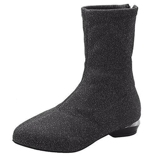 BESSKY Damen Schlupfstiefel Warm Gefüttert Mode Frauen Stretch Stoff Square Heels Zipper Mid Boot Spitz Schuhe Winter Elegant Schwarz 2.5CM