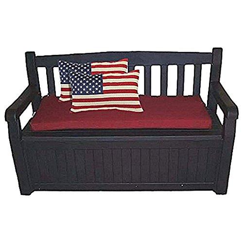 60 Gal Outdoor Garden Patio Deck Box Storage Bench Loveseat Farmhouse Waterproof Armrest Lockable & eBook