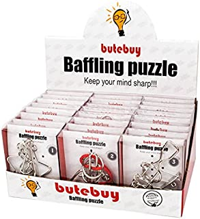 Assorted Metal Brain Teasers Metal Wire IQ Puzzles with Paper Box Gift Package Great Educational Intelligence Toys for Kids and Adult Pack of 24Pcs by AHYUAN